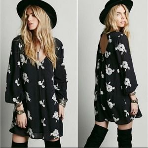 Free People Open Back Floral Embroidered Tunic